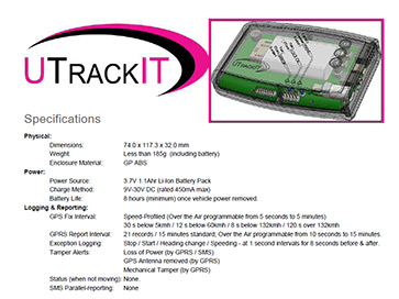 UTrackIT Product Specifications